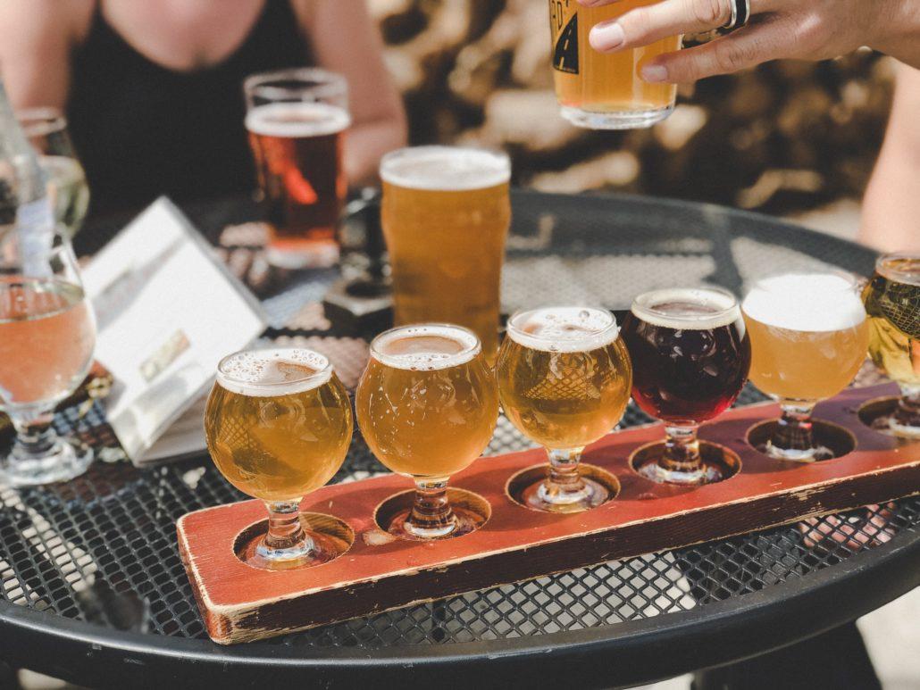 beer flight - Whistler Village Beer Festival